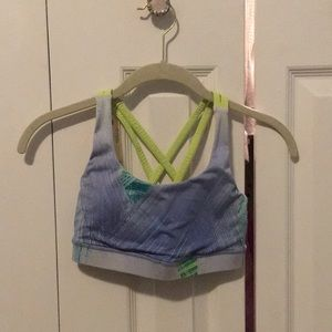 Lululemon green & blue sports bra sz 2 57580